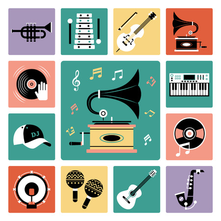 fiddle: Set of vector icons of audio and musical instrument.