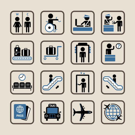 airport lounge: Set of vector icons of airport and custom house.