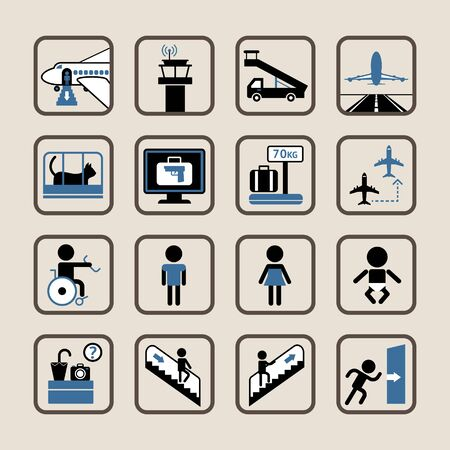 Set of vector icons of airport and custom house. Vector