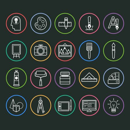 art palette: Set of outline vector icons of artist and painter Illustration