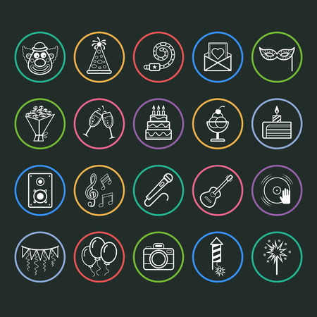 bengal light: Set of outline vector icons of party and birthday Illustration