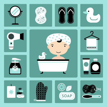 drier: Set of vector icons of bathroom and personal care Illustration