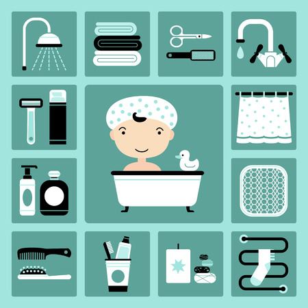 bast: Set of vector icons of bathroom and personal care Illustration