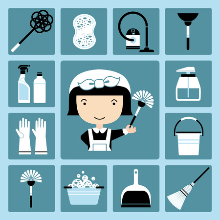 scrubbing up: Set of vector icons of maid and cleaning