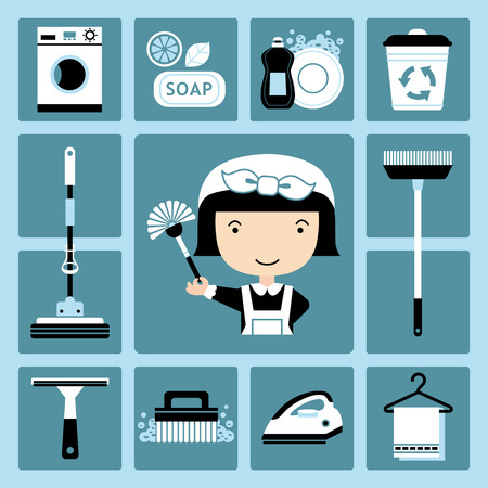 dish washing: Set of vector icons of maid and cleaning