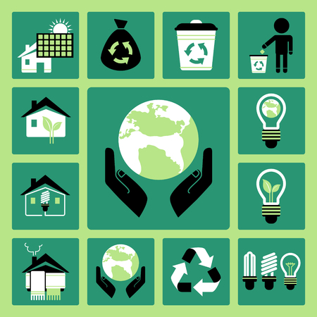 Set of vector icons of ecology and energy saving Illustration