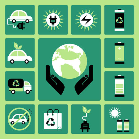 Set of vector icons of ecology and solar energy Illustration