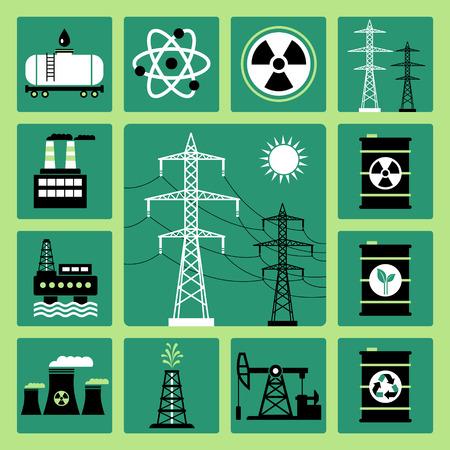 torres de alta tension: Conjunto de iconos del vector de la energía, la electricidad y la energía