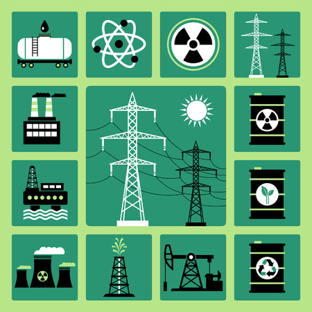electricity pylon: Set of vector icons of energy, electricity and power