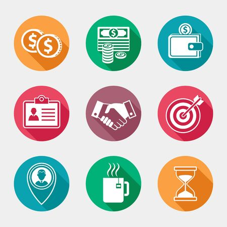 Vector collection icons of business and office elements with long shadow. Illustration