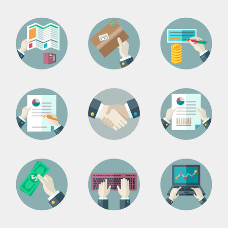 Flat vector icons collection of business and office elements.