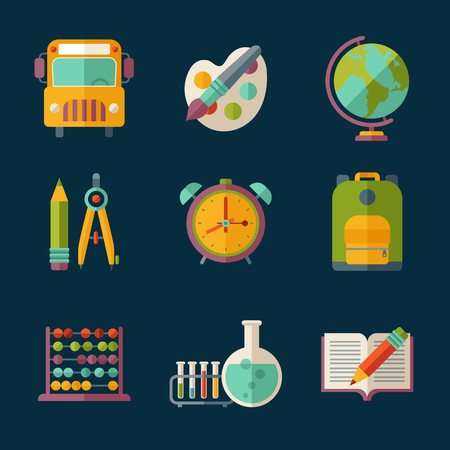 retort: Set of flat vector education and school supplies icons.