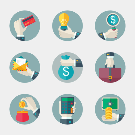 business case: Flat vector icons collection of business and office elements.