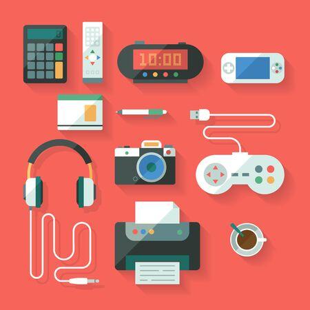 Conjunto de la computación plana y dispositivos electrónicos. Vector.