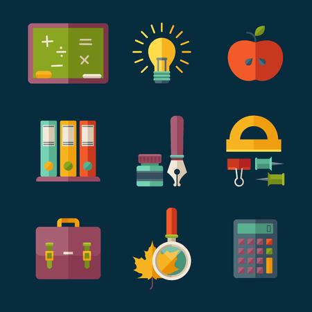utiles escolares: Conjunto de vector de educaci�n y �tiles escolares iconos planos.