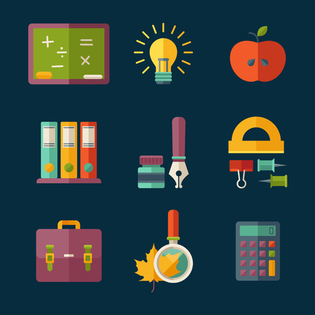 backpack school: Set of flat vector education and school supplies icons.
