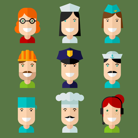telephonist: Set of vector avatar in flat design style.