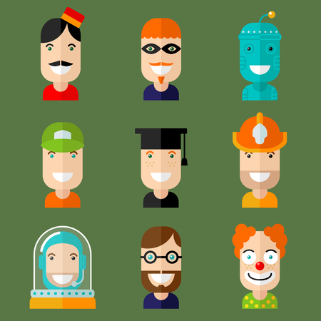web robot: Set of vector avatar in flat design style.