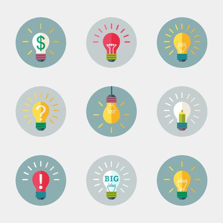 Light bulb flat vector icon with symbols.