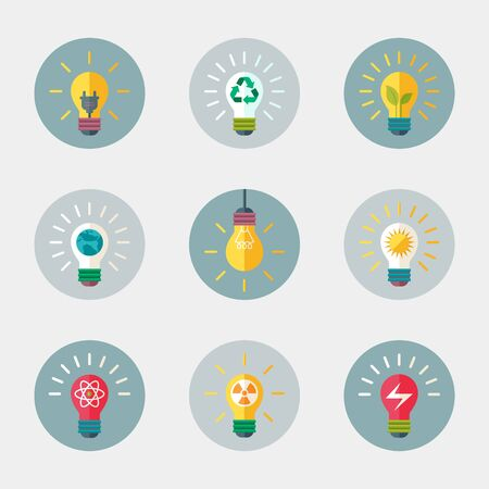 Light bulb flat vector icon with ecological energy symbols.