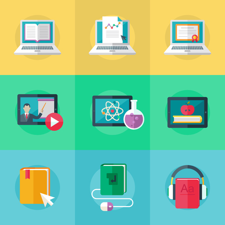 Set of flat design icons for education, online education, online learning. Vector.