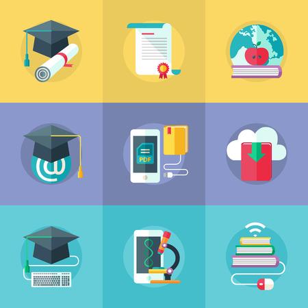Set van platte design iconen voor online onderwijs, online leren. Vector.