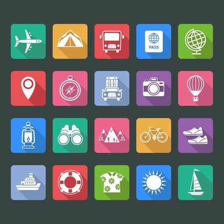 ring buoy: Set of flat vector icons of travel and tourism Illustration