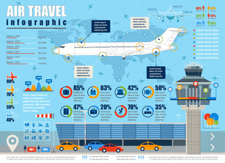 commercial airline: Vector air travel infographic with airport and design elements.