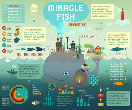 Vector fish industry infographic with miracle fish and old city Illustration