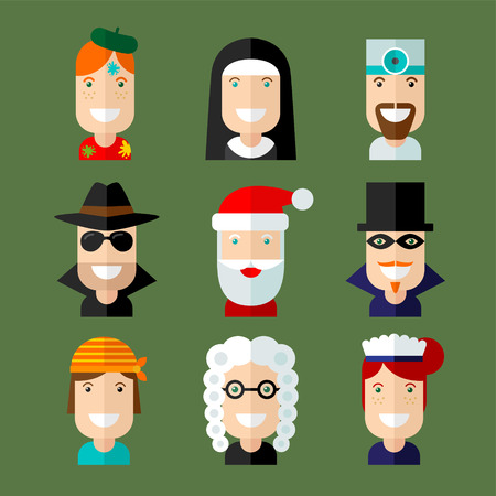 judge players: Set of vector avatar in flat design style.