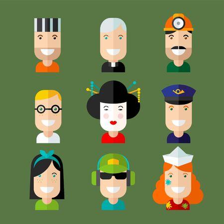 caricaturas de personas: Conjunto de avatar vector en estilo diseño plano.