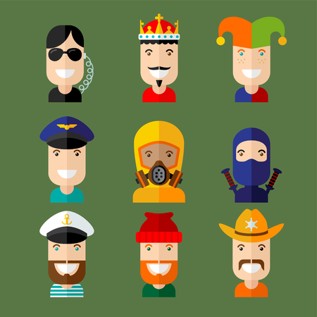 rey caricatura: Conjunto de avatar vector en estilo diseño plano.