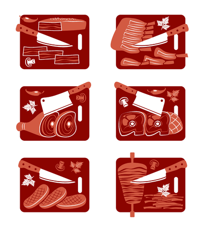 lard: Set of flat vector icons of  meat and knife.