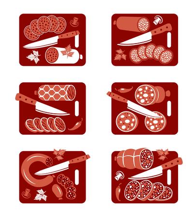 salami: Conjunto de iconos vectoriales planos de embutidos y cuchillo Vectores