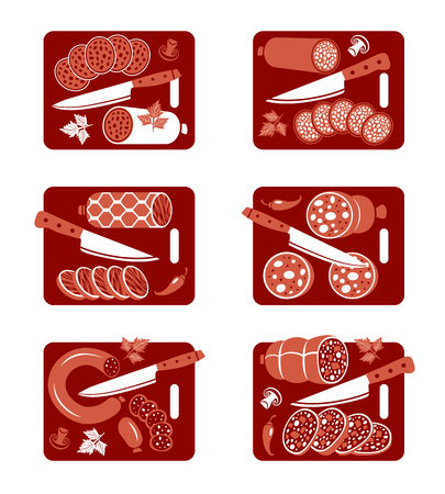 roast lamb: Set of flat vector icons of  sausage and knife Illustration