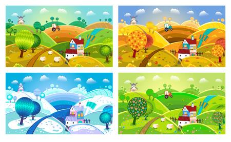 Landelijk landschap met heuvels, huis, molen en tractor. Vier seizoenen.