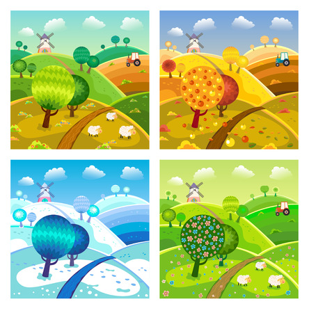 Rural landscape with hills, trees, sheeps and tractor. Four seasons. Vector