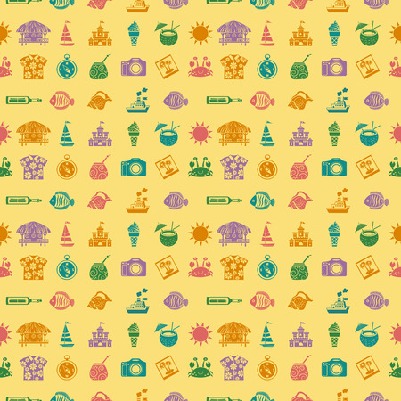 Vector travel and vacation seamless pattern. Summer time concept. Illustration