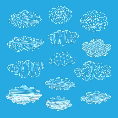 Set of different vector clouds for clipart or icon creation. Illustration