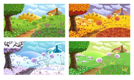 언덕, 집, 정원 및 건초 농촌 풍경. 사계절.