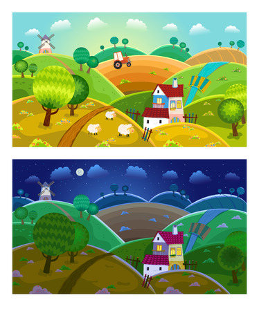 Rural landscape with hills, house, mill and tractor. Day and night. Vector