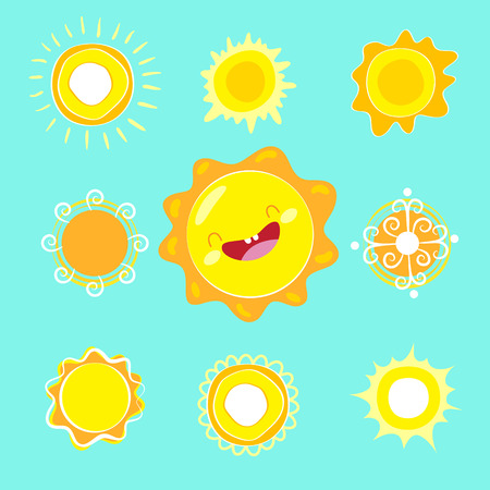 Set of different vector suns for clipart or icon creation. Illustration