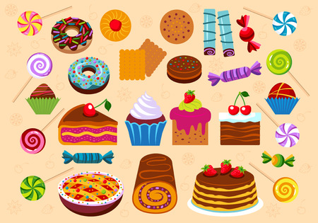 swiss roll: Set of vector icons dessert and pastry.