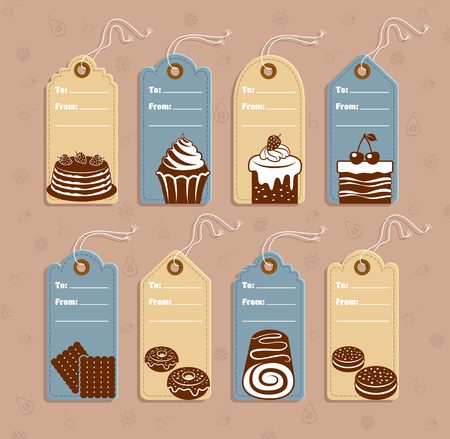 Price tags with dessert and pastry. Vector illustration. Illustration