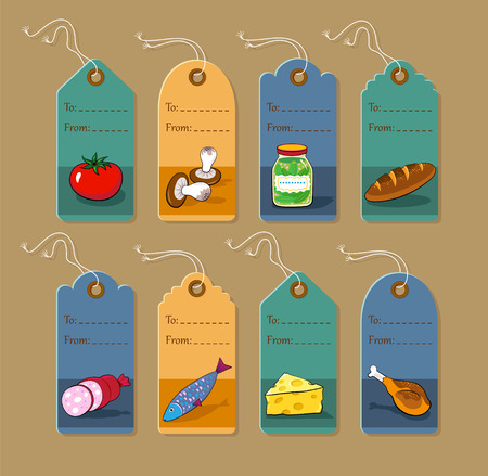 Set of vector price tags for food and gastronomy. Illustration