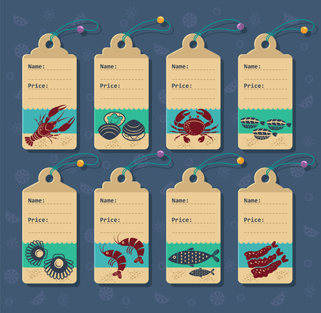 seafoods: Set of vector price tags for seafoods and sushi.