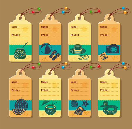 Set of vector price tags for vacation and tourism.