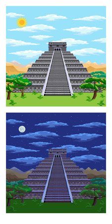 Natural landscape with the ancient aztec pyramid. Day and night. Illustration