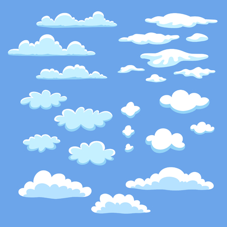 vector clipart: Set of different vector clouds for clipart or icon creation. Illustration