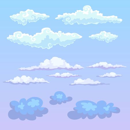 Set of different vector clouds for clipart or icon creation. Vetores